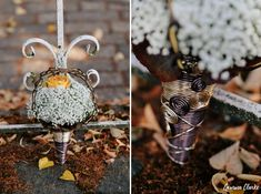 Unique same sex wedding in the German countryside with 'First Non-Look photos', the brides who made all the decorations including their own outfits and steampunk cake! Vintage Diy, Steampunk, Germany, Bride, Christmas Ornaments, Holiday Decor, Floral, Wedding, Xmas Ornaments
