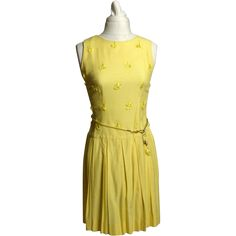 Circa 1960s Yellow Woven Cloth Tassel Dress Vintage 1960s Fashion Clothing and Accessories at Ruby Lane www.rubylane.com @rubylanecom