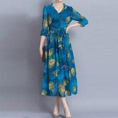 Bohemian Print 3/4 Sleeve V Neck Loose Hem Women Dresses Online - NewChic