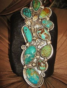 NATIVE-AMERICAN-TURQUOISE-LEATHER-BRACELET-89g-Sterling-Silver-CHAVEZ-4-8-034-wide