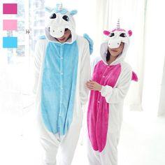 Adulto Velo Animal Sleepsuit Pijama Cosplay Onesie Unicórnio Rosa Azul Pijamas Macacões Macacão Animal Pijama Unicórnio