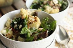 Roast cauliflower and barley salad with spinach and mushrooms