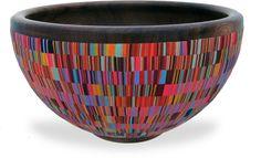 Cynthia Tinapple polymer clay inlay onto hand turned wooden bowl by Blair Davis