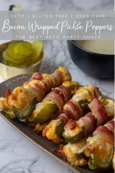 A salty, cheesy, and bacon-y zero carb appetizer. Bacon Wrapped Pickle Poppers a… A salty, cheesy, and bacon-y zero carb appetizer. Bacon Wrapped Pickle Poppers are the perfect keto snacks for a keto Super Bowl party. Bacon Wrapped Appetizers, Appetizers For Party, Appetizer Recipes, Snack Recipes, Keto Recipes, Bacon Wrapped Poppers, Bacon Wrapped Pickles, Party Recipes, Dinner Recipes