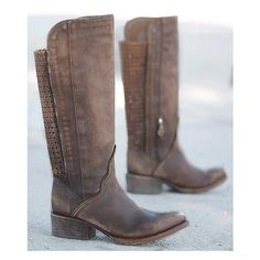 Indie Spirit By Corral Distressed Riding Boot ($300) ❤ liked on Polyvore featuring shoes, boots, brown, buckle boots, distressed leather boots, knee high leather riding boots, brown boots and tall boots