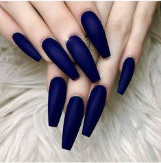54 Hottest Trendy Acrylic Coffin Nails To Insprire You This .- 54 Hottest Trendy Acrylic Coffin Nails To Insprire You This Spring – - Blue Matte Nails, Dark Blue Nails, Coffin Nails Matte, Blue Acrylic Nails, Coffin Shape Nails, Maroon Nails Burgundy, Dark Color Nails, Dark Nail Art, Royal Blue Nails