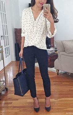 business casual office outfit idea: wrap polka dot blouse + navy ankle pants for work . I like this outfit but usually shy away from polka dots because it can be too sweet and I need to get away from the little girl look Casual Office Attire, Casual Work Outfits, Mode Outfits, Work Casual, Fashion Outfits, Easy Outfits, Casual Fall, Stylish Office, Fashion Clothes