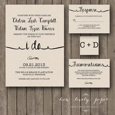 Printable Wedding Invitation Suite  the Ella von HowLovelyPaper