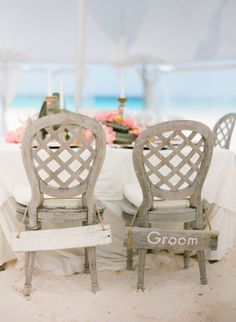 Wooden chairs: http://www.stylemepretty.com/2015/01/06/coral-bahamas-destination-wedding/ | Photography: KT Merry - http://www.ktmerry.com/