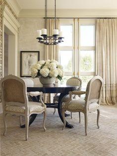 Herringbone Floor, Love This Neutral , Elegant Dining Room