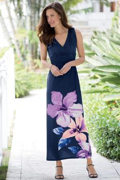 Floral Maxi Dress by Nina Leonard™: Classic Women's Clothing from #ChadwicksofBoston $59.99