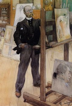 Carl Larsson (1853-1919) Self Portrait Watercolor on paper 1895