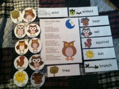 """""""Five Little Owls"""" Flannel Board Rhyme, Props & Vocabulary Cards! Laminated & Ready to Go...Just Add Velcro, Craft Sticks or Magnetic Tape! 