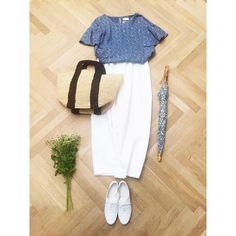 丸柄が可愛いフリルブラウスが出来ました。いよいよGW☀️みなさん神戸に遊びに来てくださいね! #chronik #ootd  #coordinate  #outfit
