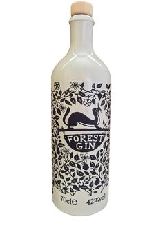 London Dry Forest Gin PD, packaging, design, monochrome, papercut, print, pattern, nature, stoat, illustration