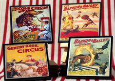 Vintage+Circus+Art   Vintage Circus Coasters by CheltenhamRoad on Etsy, ...   Art, Etsy, E ...