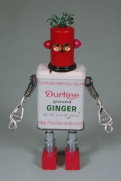 """""""Spice Girl"""" Found Object Robot Sculpture Assemblage by Sally Colby 