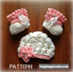 Crochet Pattern: Newborn Baby Girl Hat and Booties, The Winter Princess Set by TheGimpyHooker, $3.99 Includes instructions/adjustments for both size 5 and 6 bulky yarn!