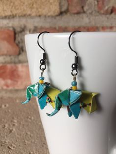 Blue Colorful Elephant Paper Origami Earrings Yellow