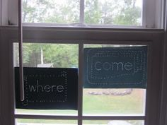 This is soooo cool...If you hang them in the window they cant see the word they poked...Maybe not everyone could handle the push pins, but I really like the idea!