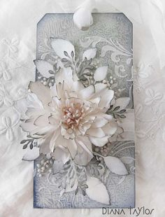 White rose tag by Velvet Moth Studio