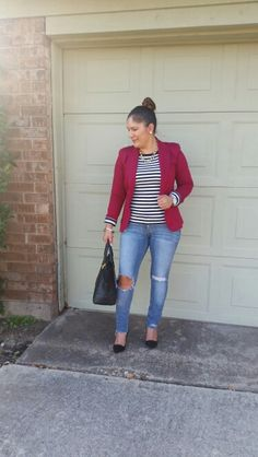 JCP Berry blazer fr @jcpenney  Joe Fresh striped long sleeve @jcpenney  Distressed Denim and black pumps fr @forever21  casual yet chic!