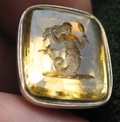 9ct gold Georgian citrine intaglio fob seal with a family crest of a mermaid with looking glass combing her hair $425