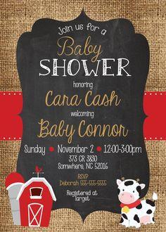 Any Color COWBOY Farm BABY SHOWER Burlap Chalkboard By MolsDesigns