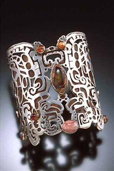 Silver & gem cuff