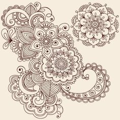 Hand-Drawn Intricate Abstract Flowers and Mandala Mehndi Henna Tattoo Paisley Doodle - Illustration Stock Photo - 6807572