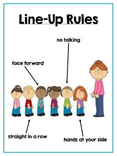 having a visual of the line up rules reminds students what they need to look like and act like when they line up to go anywhere in the school.
