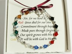 This very special Salvation bracelet is made with sterling silver and Swarovski crystals. Each crystal in this bracelet represents a part of the