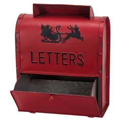 The Holiday Aisle® Santa Letters Mail Box, Metal in Red, Size 15