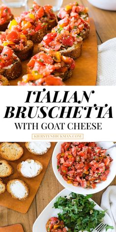 Learn how to make the easiest (and tastiest!) bruschetta using this recipe. The secret ingredient? Goat Cheese Recipes, Cheese Appetizers, Appetizer Recipes, Dinner Recipes, Cheese Food, Cheese Plates, Italian Bruschetta Recipe, Bruchetta Recipe, Healthy Snacks