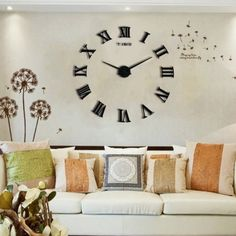 Rome Numerals Wall Clock Modern Decorative Clock For Living Room Kitchen  Bedroom Office Large DIY 3D Quartz Clock #diydecorating