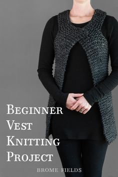"Grab this FREE Chunky KINDNESS Vest Knitting Pattern. This is a beginner vest knitting pattern using the garter stitch. This is a great ""light"" layer for. Beginner Knitting Patterns, Chunky Knitting Patterns, Knit Patterns, Knitting Charts, Knitting Projects, Knitting Baby Girl, Knit Vest Pattern, Garter Stitch, Cardigans For Women"