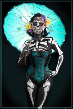 Face Art, Portraits & Mug Shots: New Day of the Dead Faces Halloween 2014, Halloween Make Up, Halloween Costumes, Halloween Corset, Party Costumes, Vintage Halloween, Sugar Skull Makeup, Sugar Skull Art, Sugar Skulls