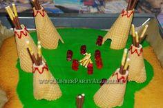 Indianer Kindergeburtstag Kuchen auf KinderPartyAlarm.com