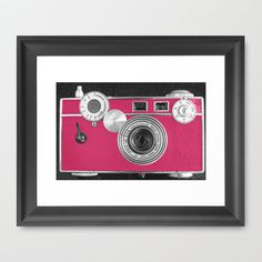 Pink Fashion Camera Framed Art Print by Wood-n-Images - $36.00