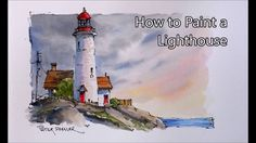How to paint a Lighthouse Line and Wash Watercolor in Real-time. Beginne...