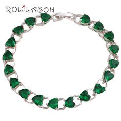 Tb761 Birthday Gifts Charm Bracelets Silver Filled Peridot Fashion Jewelry