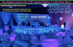 Ice Like New LED Bars, Tables, Stages are spectacular! Elegant Light Up Table Uv Black Light, Light Up, Essex County, Suffolk County, Bergen County, Glow Table, Chandelier Centerpiece, Disco Theme, Prom Decor