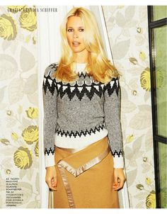 COZY CLAUDIA: The model wears a cozy sweater and skirt look in the editorial