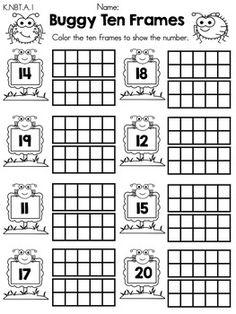 Buggy ten frames teen numbers part of the spring kindergarten math worksheets common core aligned printable Number Worksheets Kindergarten, Teen Numbers, Math Numbers, 1st Grade Math, Grade 1, Homeschool Math, Elementary Math, Math Classroom, Teaching Math