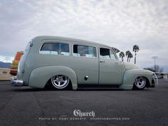 1952 1953 Chevy Suburban of the Advance Design body style era with an awesome adjustable fulton brand visor..Re-pin brought to you by agents of #Carinsurance at #HouseofInsurance in Eugene, Oregon