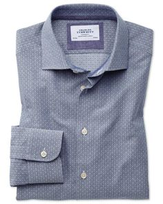 Slim fit semi-spread collar business casual diamond texture navy and grey shirt