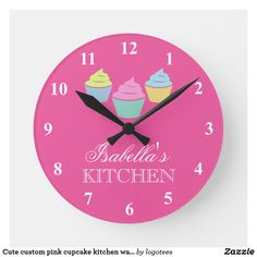 Shop Cute custom pink cupcake kitchen wall clock created by logotees. Cute Kitchen, Kitchen Art, Kitchen Ideas, Cupcake Room Decor, Wall Clock Nursery, Small American Kitchens, Kitchen Wall Clocks, Modern Bedroom Decor, Funny Birthday Gifts