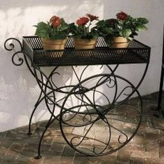 Wrought Iron Planters Cart