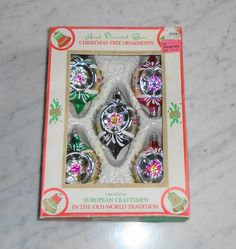 5 Vintage Glass Christmas Ornaments Hand Painted Glitter