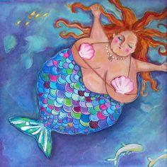 Mermaid bbw art on canvas Glenda mermaid bathroom fine art print  8x8 via Etsy